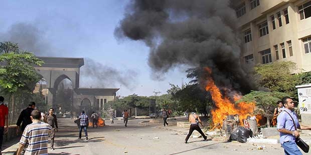 Skirmishes between police and Brotherhood students in Menoufia