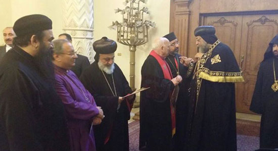 Pope Tawadros receives heads of Christian denominations