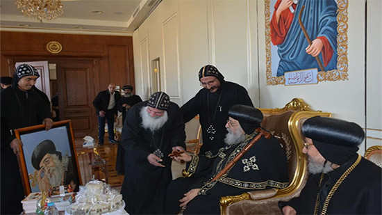A delegation of St. George Monastery in Rizigat to congratulate Pope on Christmas