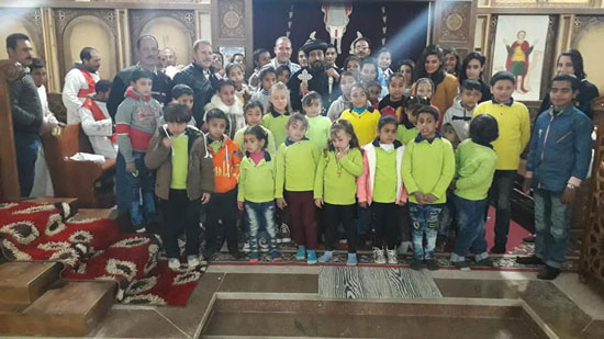 Bishop Arsanios perfumes the remains of St. Mina in Farafra
