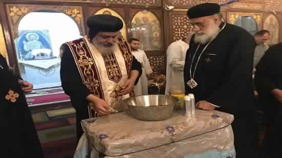 Bishop Michael perfumes the remains of St. Demiana