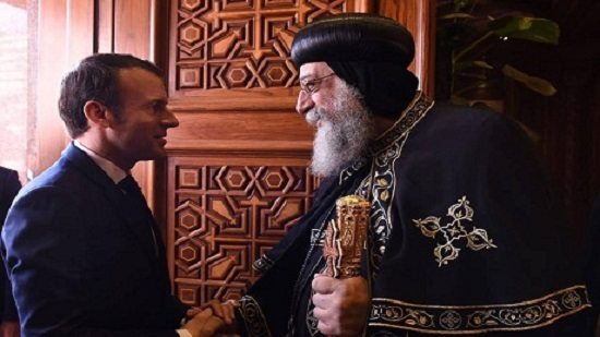 Egyptians strength comes from national unity, Pope Tawadros II tells Macron at Abbasiya Cathedral