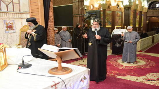 Pope Tawadros celebrates the Maundy Thursday at the Monastery of St. Mina