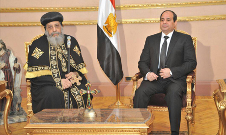 In Cathedral, Sisi offers condolences to Pope Tawadros for 21 killed Copts in Libya