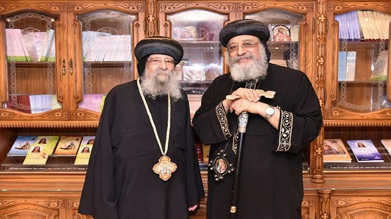 Pope Tawadros receives Bishop of El-Balina after recovery